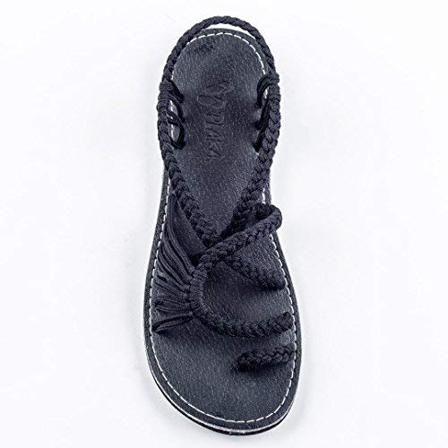 Plaka Black Sandals for Women Size 8 Palm Leaf ()
