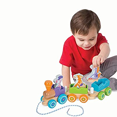 Melissa & Doug Rocking Farm Animals Pull Train: Toys & Games