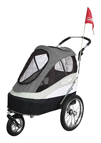 InnoPet Pet Stoller,IPS-055/AT,Grey/Black/Silver, Free Rain and Wind Cover, Dog Carrier, Trolley, Trailer, Sporty. Pet Buggy, Pushchair, pram for Dogs and Cats
