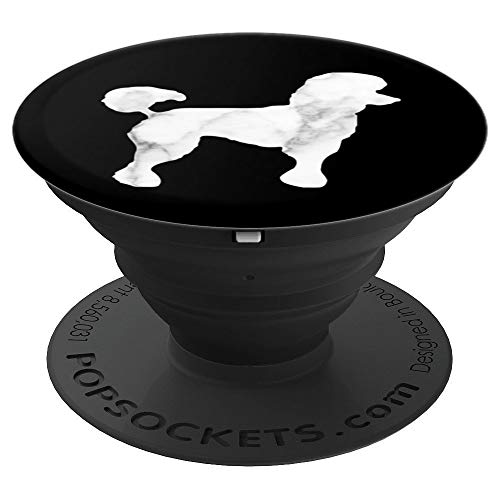 Poodle, White Black Marble, Dog Mom, Modern Dutch Cut, Cute - PopSockets Grip and Stand for Phones and -