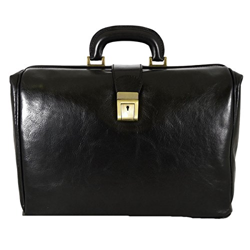Borsa Per Dottore In Pelle Vera, 1 Scomparto Colore Nero - Pelletteria Toscana Made In Italy - Business