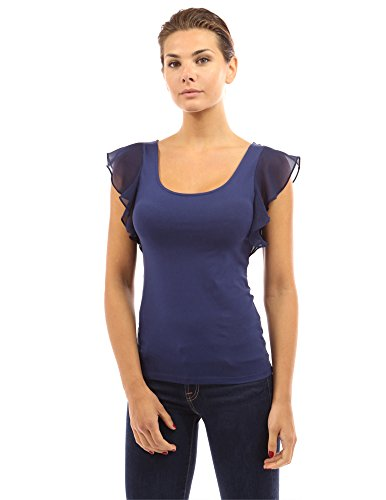 PattyBoutik Women Scoop Neck Flutter Tank Top (Navy Blue Medium) (Sleeve Flutter Tops Plus)