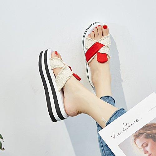 Zapatillas AJUNR Bollo Verano Cool gules Arrastre Elegante Transpirable Moda Grueso Estudiantes Inferior Desgaste Sandalias Joker znq4qISWA