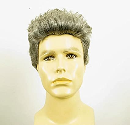 Peluca hombre corto de cabello 100% natural gris mecha blanca PIERRE 44