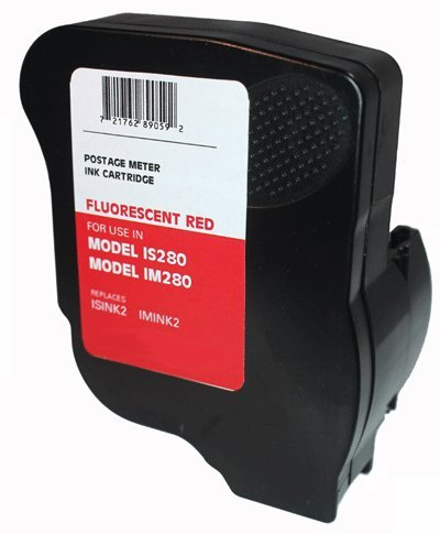 Neopost ISINK2 Fluorescent Red Ink Cartridge ~90 DAY Warranty! ~ for Neopost IS280 and Hasler IM280 Postage Meters