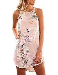 dd03f540c2d Women s Casual Sleeveless Floral Mini Dress Summer Beach Halter Neck Dresses