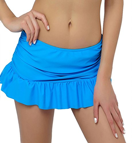 DUSISHIDAN Women's Blue Mini Side Tie Shirred Bikini Skirted with Panty