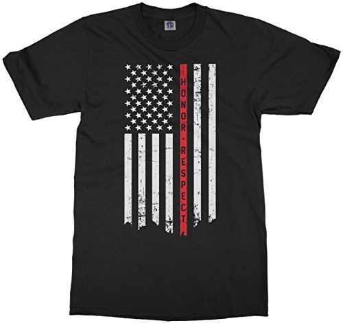 Threadrock Kids Honor & Respect Thin Red Line Flag Youth T-Shirt S Black