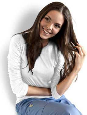 Wink Silky Long Sleeve Sub Scrubs White
