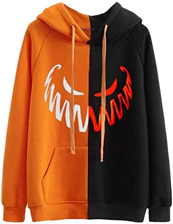 NOMUSING Women Halloween Hoodies Sweatshirt Long Sleeve Pullovers Splicing Color Casual Tops Blouse with Front Pocket