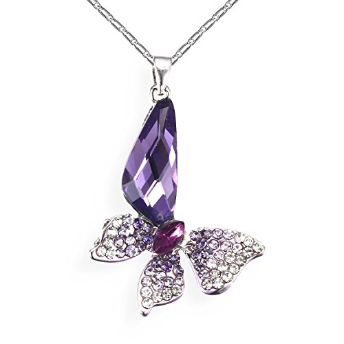 Butterfly Crystal Pendant Necklace purple product image