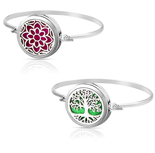 Tree of Life & Lotus Aromatherapy Essential Oil Diffuser Bracelet Set Pendant Locket Jewelry, Stainless Steel Perfume Gift Present for Girls/Women
