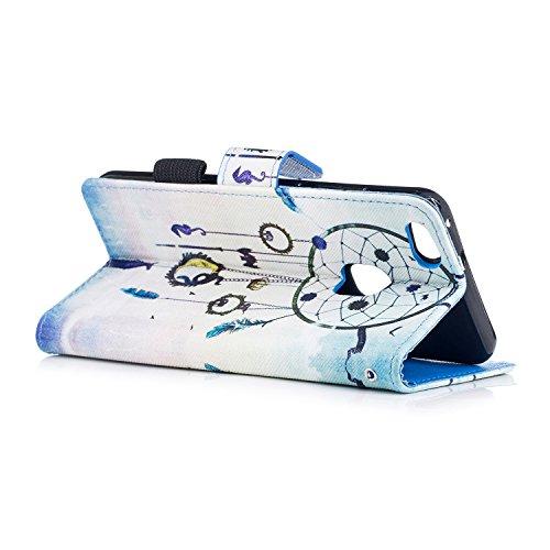 Funda Huawei P10 lite,SainCat Funda de cuero sintético tipo billetera con correa de cordón de Suave PU Carcasa Con Tapa y Cartera, Correa de mano, Soporte Plegable, Ranuras para Tarjetas y Billetera F Campanas de viento nacionales