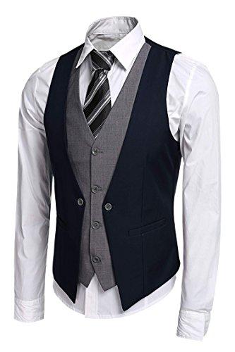 JINIDU Men's Slim Fit Formal Vest Business Suit Vests Waistcoat ()