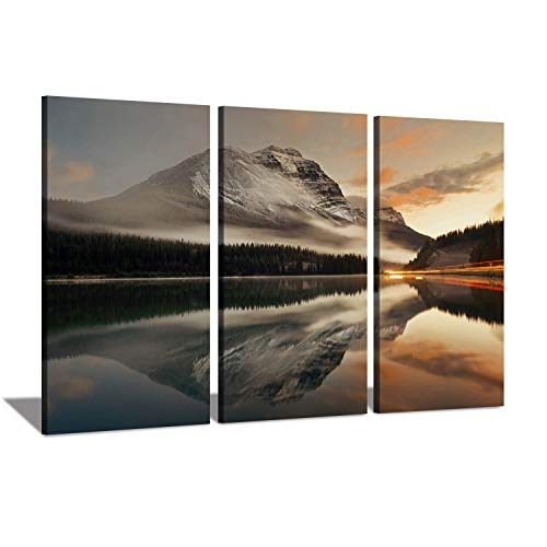 Hardy Gallery Reflection Landscape Artwork Canvas Prints: Nature Rocky Snow Mountains in Sunrise by Lake Shore on Photographic Arts for Wall Decor