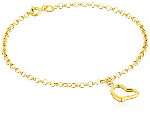 14k Yellow Gold Heart Dangle Charm Bracelet, 7
