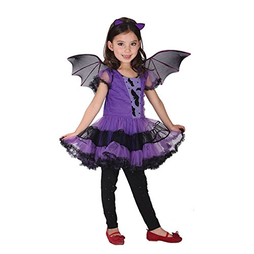 Cute Costumes Vampire Girl (LAMISSCHI Girls Halloween Purple Bat Wings Costume Lovely Vampire Cosplay)