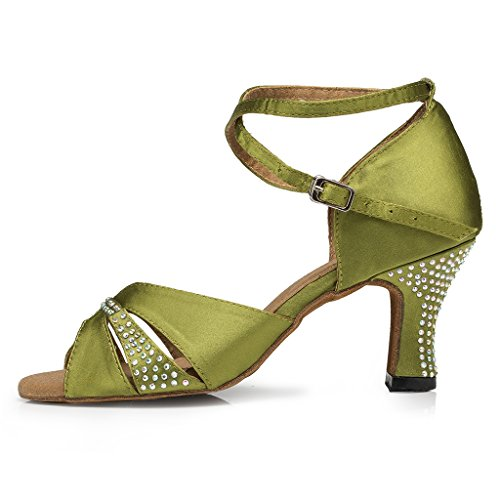 US Evening Med Heel Chunky 5 M Satin Women's Sandals Party Miyoopark Fashion Green w8S4q