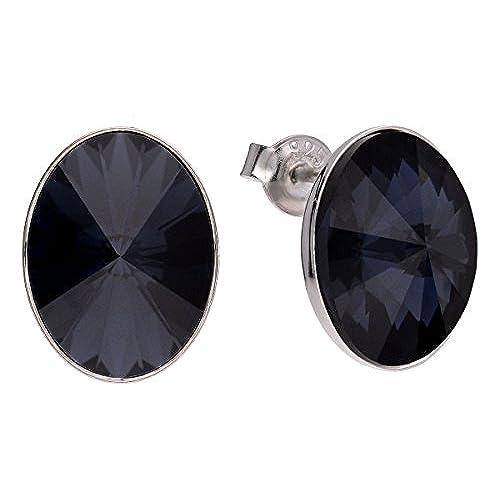 d16b68d8c860 Chic Pendientes de tuerca de plata de ley 925 con cristales ovalados de  Swarovski