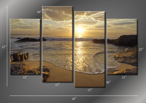 Picture Sensations Framed Huge 4-Panel Sunset Sea Beach Ocean Wave Giclee Canvas Print