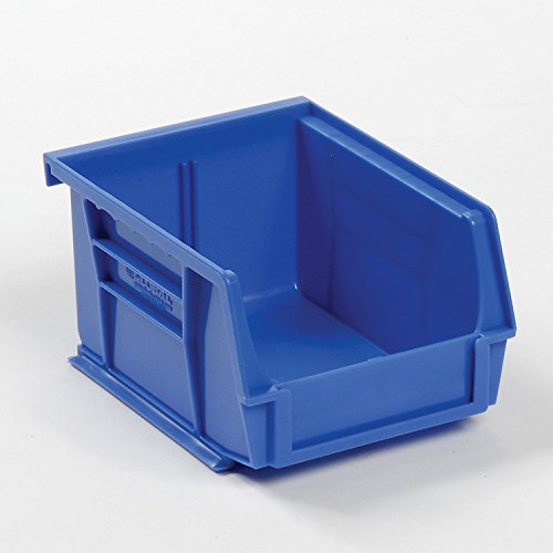 Plastic Stacking And Hanging Bin - Small Parts Storage - 4-1/8 x 5-3/8 x 3, Blue - Lot of 24 from Global Industrial