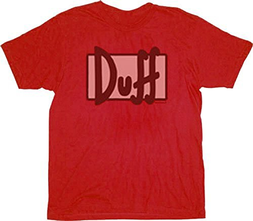 The Simpsons Worn Out Duff Beer Logo Red T-shirt Tee (Simpsons Duff Beer T-shirt)