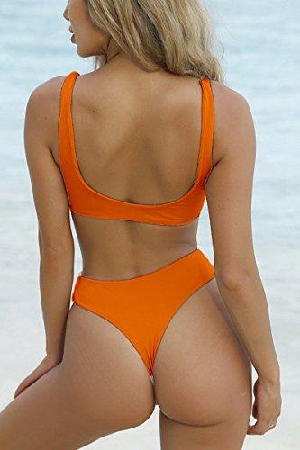 1cfddeb7f9a QINSEN Womens Tie Knot Front High Waist Thong Bandage 2PCS Bikini Sets  Beachwear