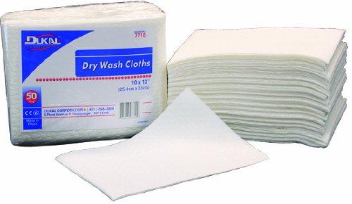 Dukal Dry Wash Cloths, 10''x13'', Embossed, Non-Sterile, 50/bg 10bg/cs 10 pcs sku# 1303742MA