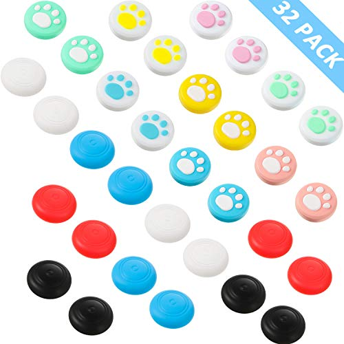 32 Pieces Replacement Soft Silicone Cute Cat Paw Design Thumb Grip Caps Thumb Grips Analog Stick Cover Joystick Cap…