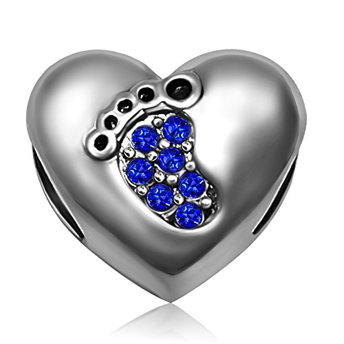 JMQJewelry Christmas Heart Baby Love Birthstone Footprints September Blue Dangle Charms for Bracelets (Blue Baby Bracelet)