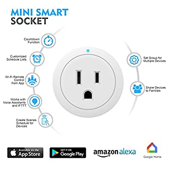 Plug, Smart Plug ESICOO,Compatible with Alexa Google Home Ifttt, Wi-Fi Mini Smart Outlet, Socket 1 Pack, No Hub Required