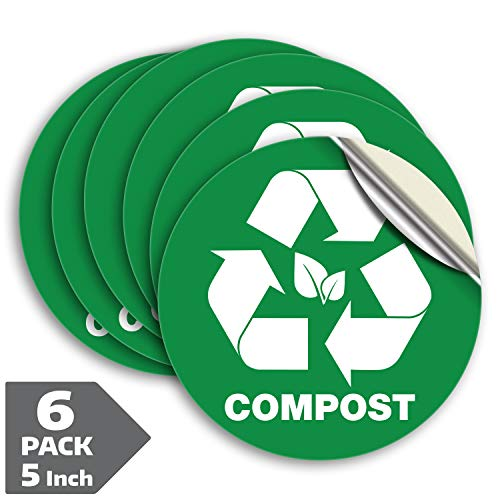 Compost Sticker for Trash Can Bins, Sign Decal - 6 Pack 5 in - Premium Self-Adhesive Vinyl, Weatherproof, UV Resistant, Encourage Recycling, Indoor and Outdoor.