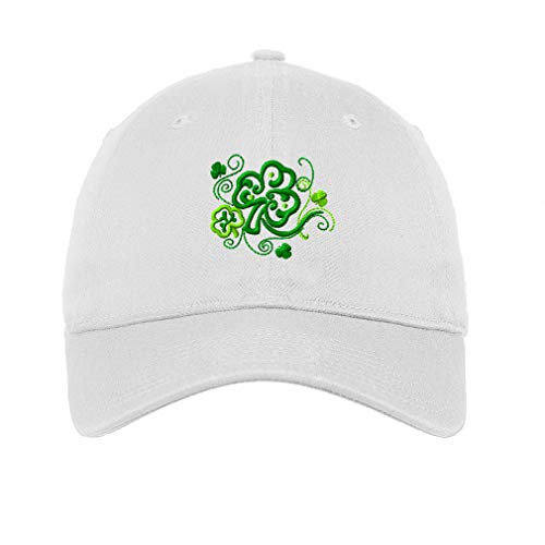 (Speedy Pros LowProfileSoft Hat Celtic Shamrocks Symbole Embroidery Design Cotton Dad Hat Flat Solid Buckle White Design Only)