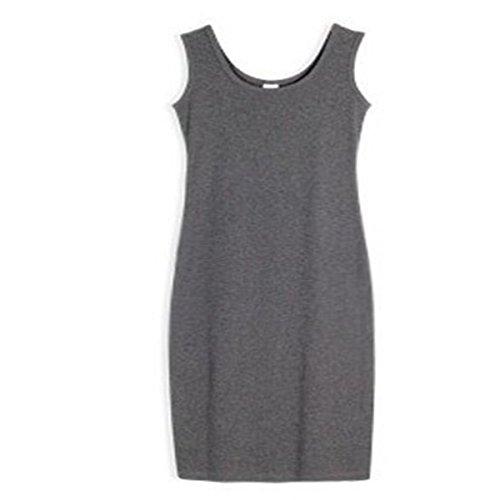 Tank Top Loose Round Casual Women s Neck Grey Long Dark Aline Maxi Dress Sleeveless Carejoy Rwq4UCR