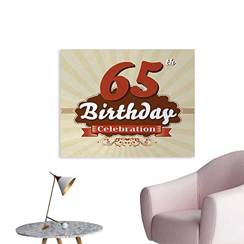 Tudouhoho 65th Birthday Funny Poster Retro Style Celebration Card with Spring Inspired Floral Details Home Decor Wall Eggshell Brown Burgundy W36 -