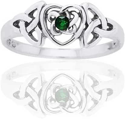 May Birthstone Ring - Sterling Silver Simulated Emerald Glass Celtic Trinity Knot Heart(Sizes 4,5,6,7,8,9,10)