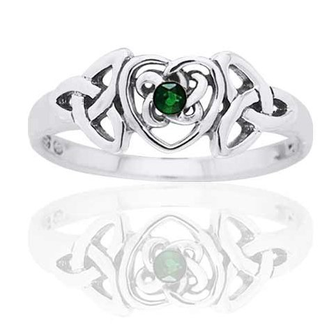 Trinity Glasses (May Birthstone Ring - Sterling Silver Simulated Emerald Glass Celtic Trinity Knot Heart Size 9(Sizes 4,5,6,7,8,9,10))
