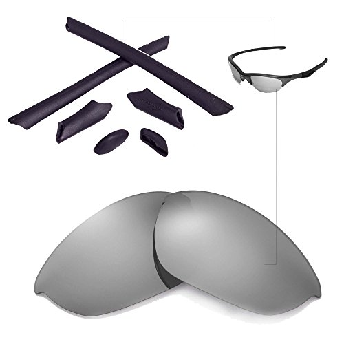 Walleva Replacement Lenses Or Lenses/Rubber for Oakley Half Jacket Sunglasses - 41 Options Available (Titanium Polarized Lenses + Black - Lens Oakley Replacement Half Jacket