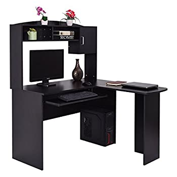Tangkula L Shaped Desk Corner Home Office Computer Desk with Hutch (Black)