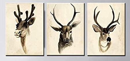 N / A Animal Painting Cute Deer Canvas Painting Hand-Painted Poster Wall Painting Home Decoration on Canvas Frameless 50x75cm