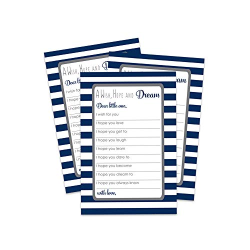 Paper Clever Party Navy Blue Stripe Wishes and Advice Cards (20 Pack) for Baby Shower Games, Time Capsules, Birthday Celebrations