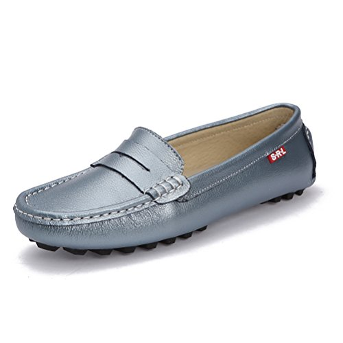 On Casual Penny Gilding Driving Boat Shoes Blue SUNROLAN Leather Moccasins Loafers Slip Women's Genuine Flats 8qxOd14