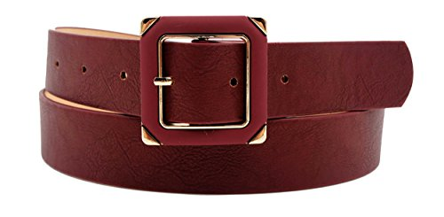 Women's Retro Square Buckle Belt (burgundy) (Casual Square Buckle)