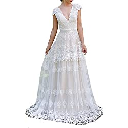 Ellenhouse Women's V-Neck Boho Wedding Dresses Bohemian Lace Bridal Gowns