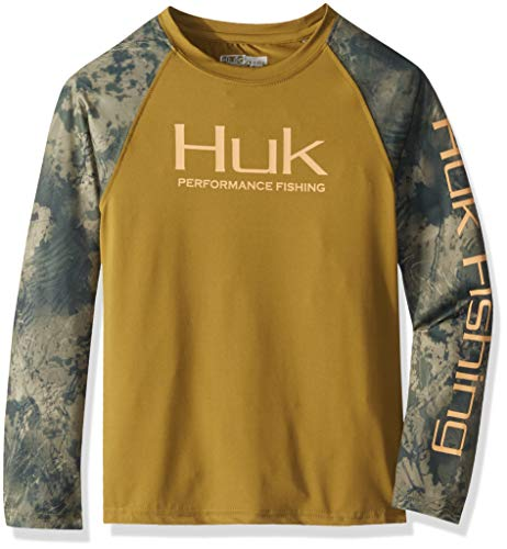 (Huk Youth  Double Header Shirt, Military Olive Drab/SubPhantis Southern Tier, Youth Small )