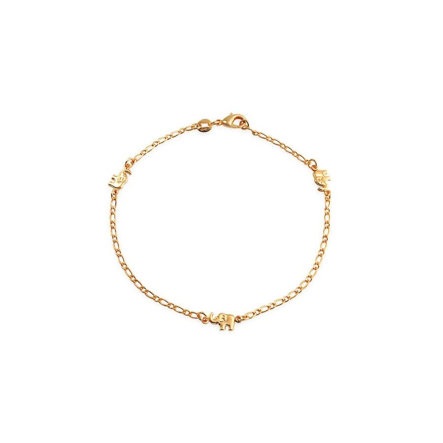 Bling Jewelry Three Mulit Lucky Elephant Charm Anklet Ankle Bracelet 18k Gold Plated Brass 9.5Inch