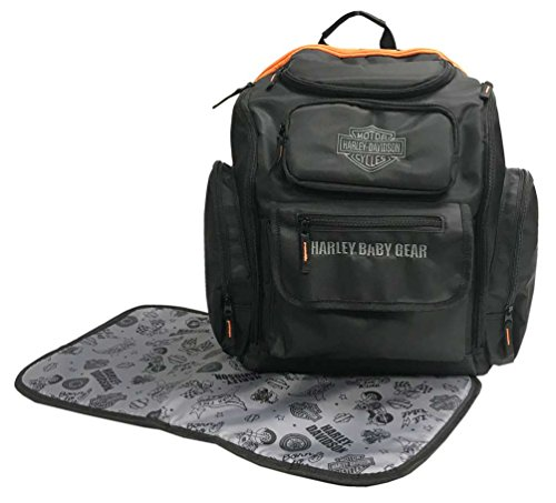 Harley-Davidson Baby Embroidered Bar & Shield Diaper Bag Backpack, Black 7150877
