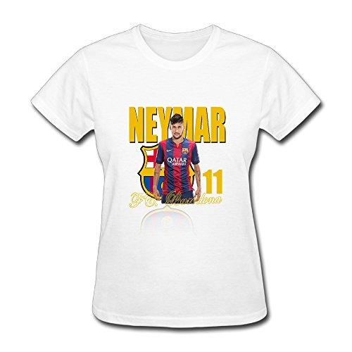 Jade Women's T-shirt-Classic Neymar Da Silva 11# Football Player White SizeXS (Eleven Foot Four)