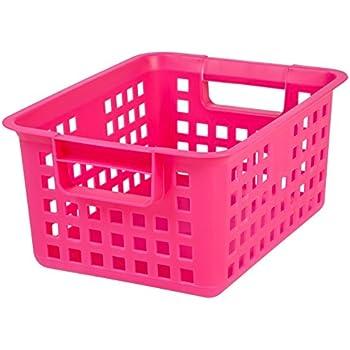 Exceptionnel IRIS Medium Plastic Storage Basket, Pink