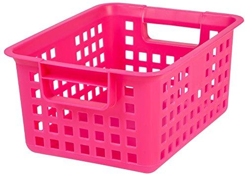 IRIS Medium Plastic Storage Basket, Pink